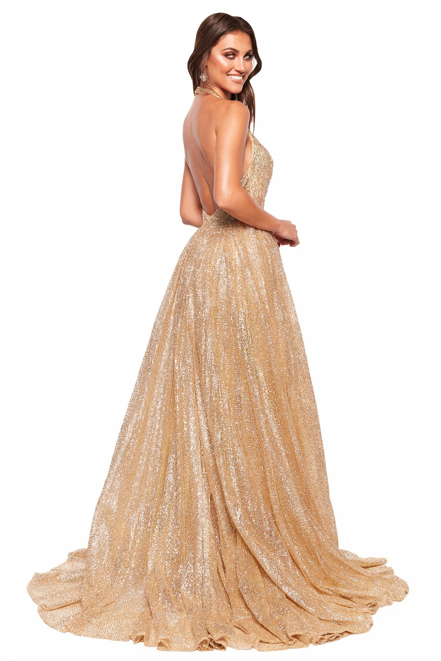 A&N Luxe Saina - Gold Glitter A-Line Gown with Plunge Neck & Low Back