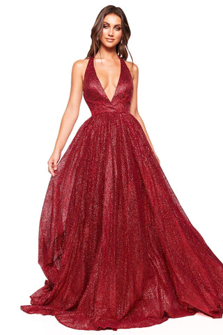 A&N Luxe Saina - Burgundy Glitter A-Line Gown with Low Back