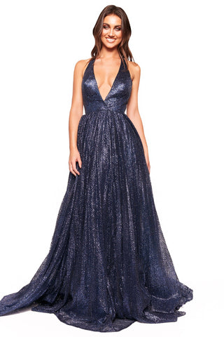 A&N Luxe Saina Glitter Gown - Navy