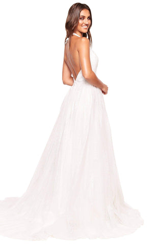 A&N Luxe Saina - White Glitter A-Line Gown with Low Back
