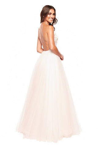 A&N Lauretta - Embroidered Tulle Halter Neck Gown with Low Back