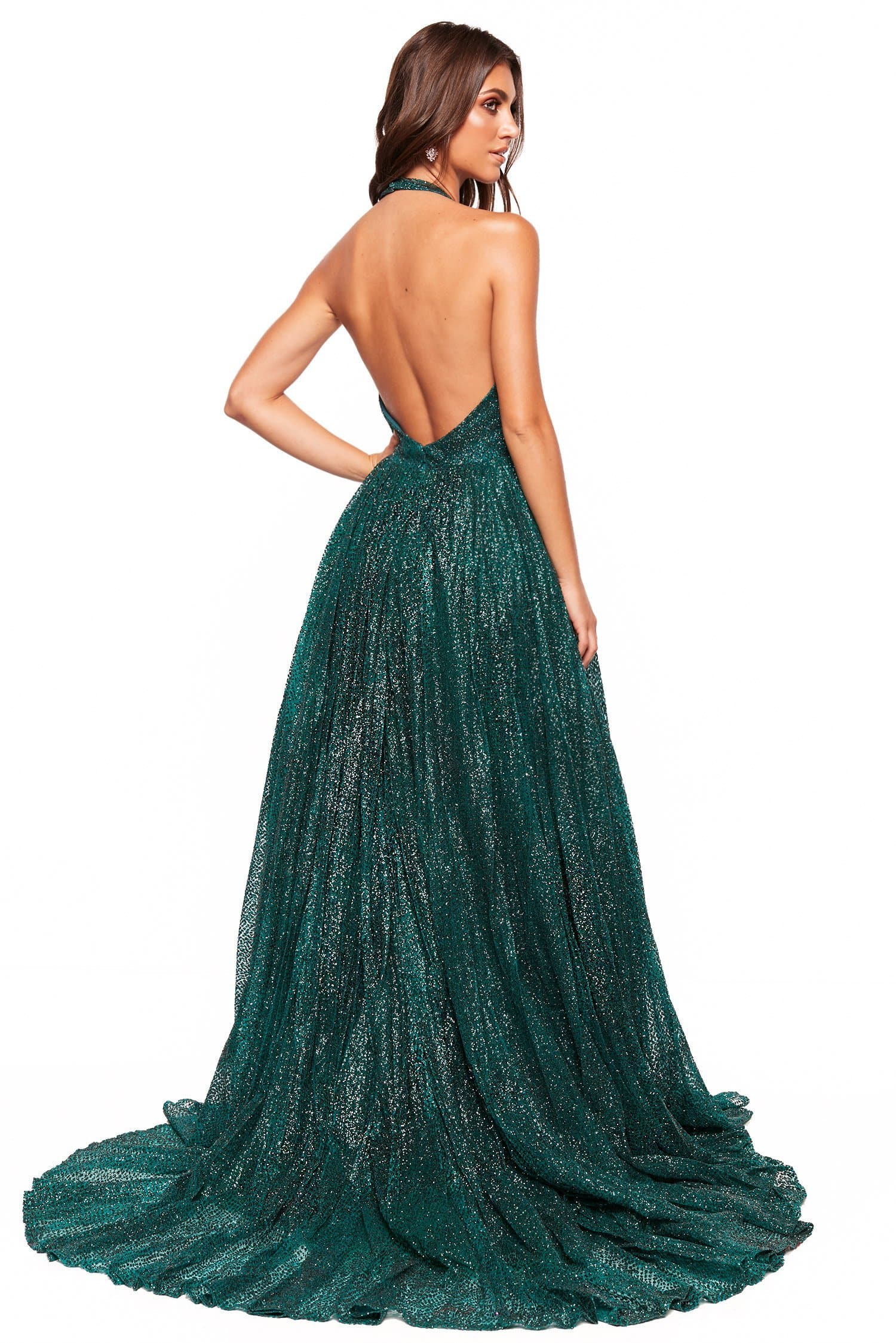 A&N Luxe Saina - Emerald Glitter A-Line Gown with Low Back
