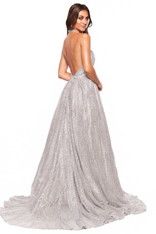 A&N Luxe Saina - Silver Glitter A-Line Gown with Low Back