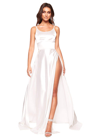 A&N Vanessa - White Satin Gown With Mermaid Train and Slit
