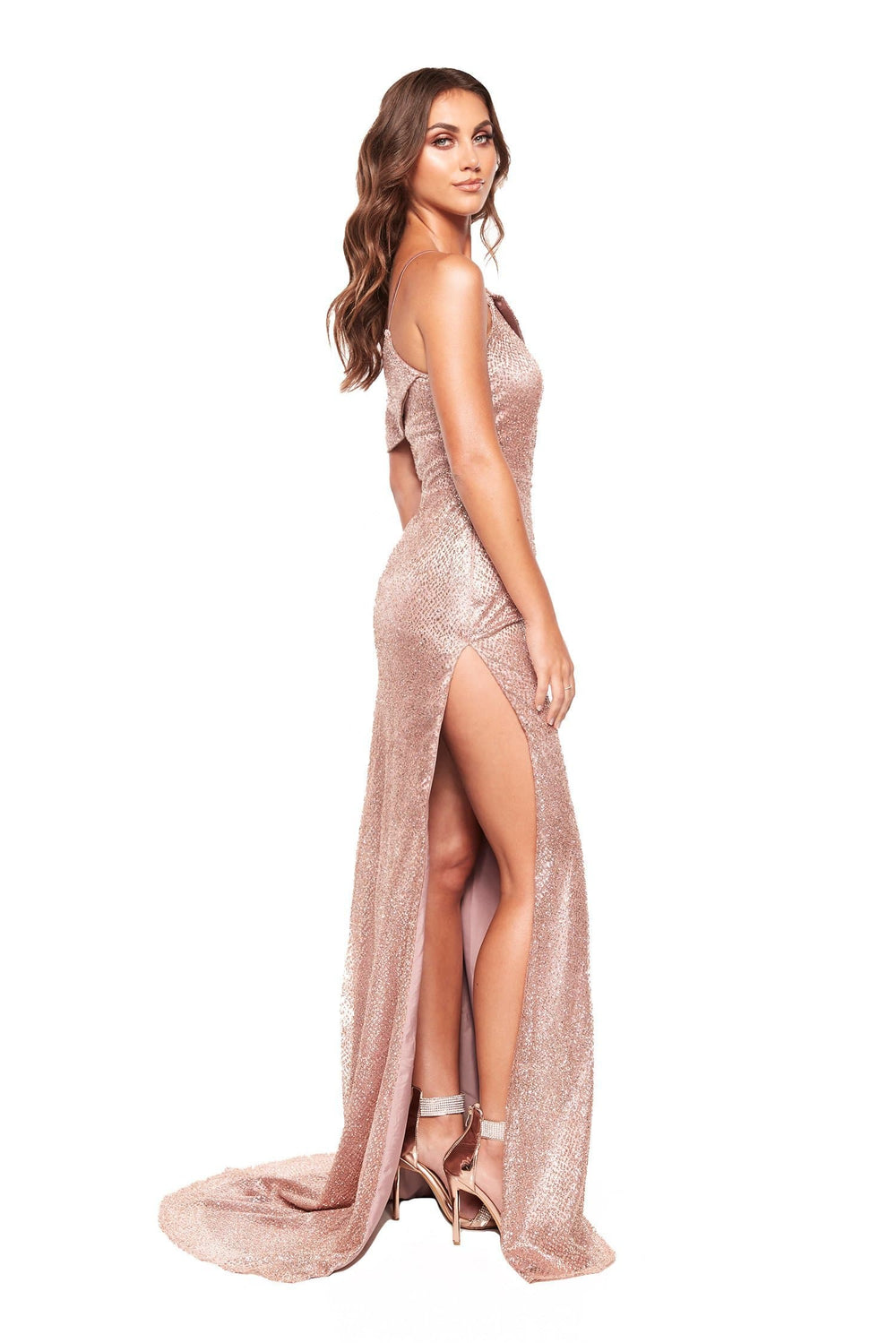 A&N Rita - One Shoulder Glitter Gown with Side Slit in Rose Gold