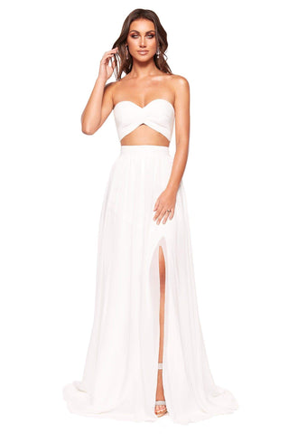 A&N Luxe Tia - White Chiffon Strapless Two Piece with Side Slit
