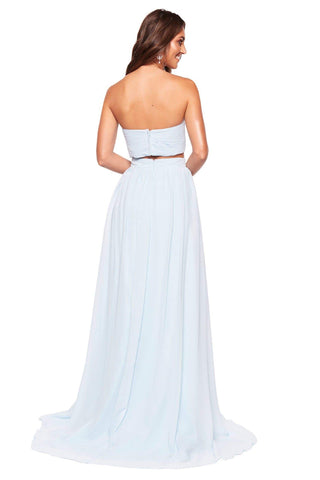 A&N Luxe Tia - Sky Blue Chiffon Strapless Two Piece with Side Slit