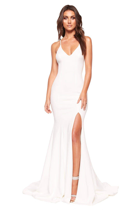 A&N Luxe Katerina Lace Satin Two Piece - White