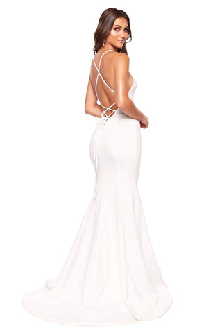 A&N Luxe Emilie - White Gown with V-Neck, Lace-Up Back & Slit