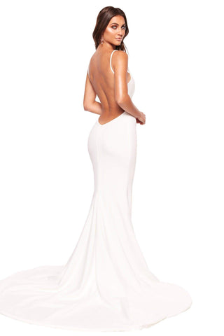 A&N Luxe Malia - White Ponti Gown with Scoop Neck & Side Slit