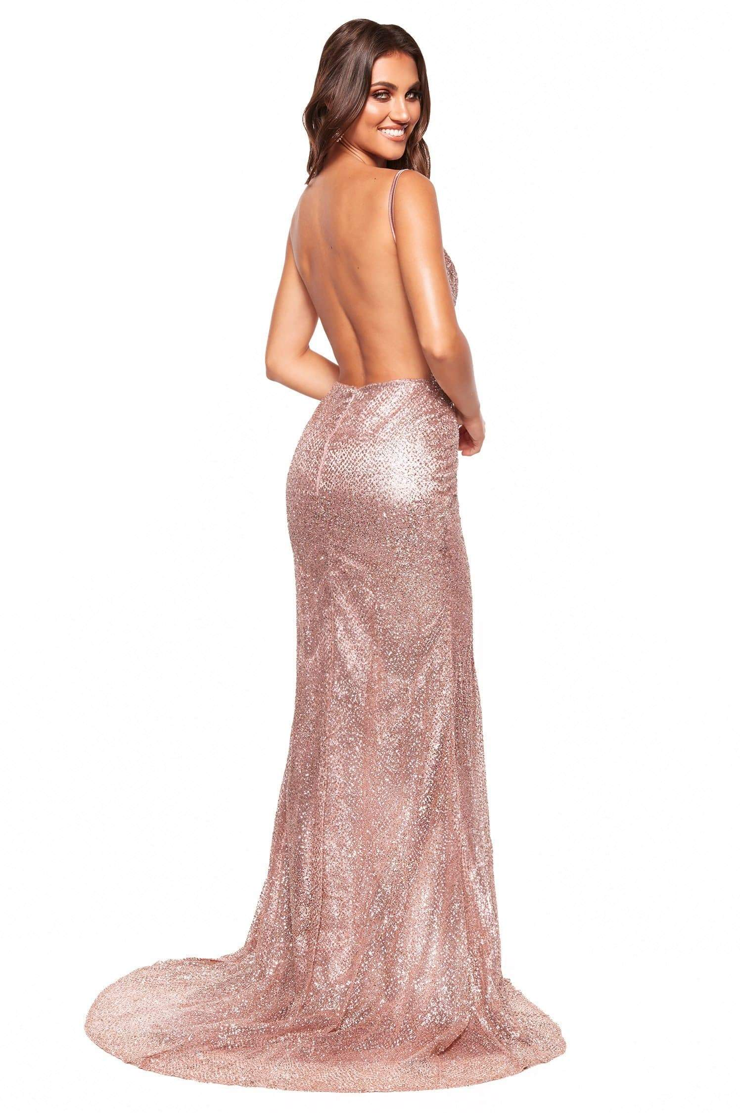 A&N Luxe Evaliah - Rose Gold Glitter Gown with Side Slit & Low Back