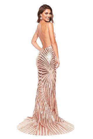 A&N Justina - Rose Gold Sequin Gown with Plunge Neck and Low Back