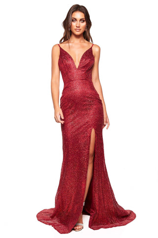A&N Luxe Evaliah - Burgundy Glitter Gown with Side Slit & Low Back