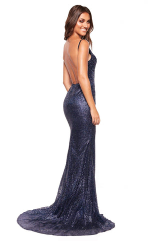A&N Luxe Evaliah - Navy Glitter Gown with Side Slit & Low Back