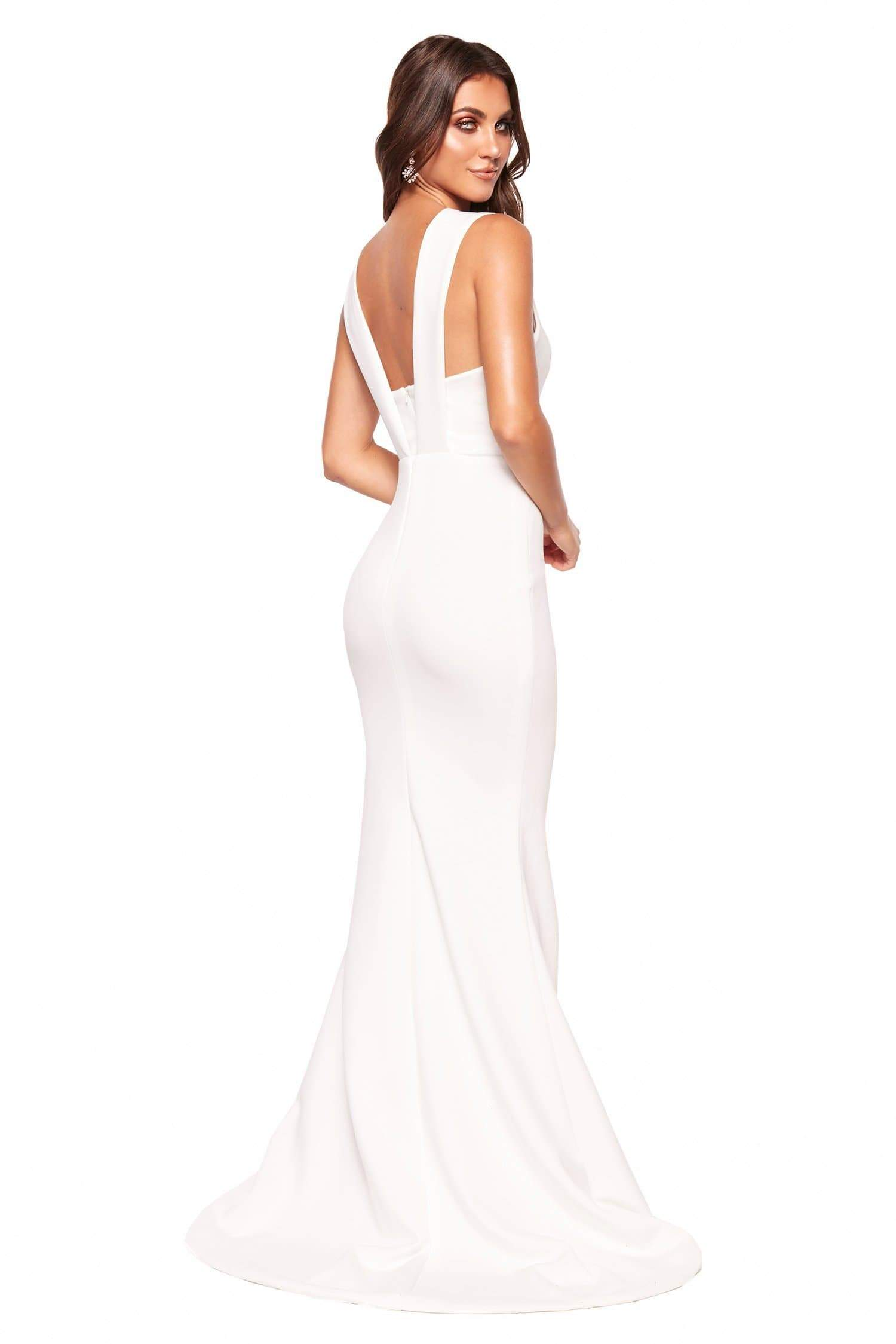 A&N Luxe Scarlett - White Ponti Gown with Plunge Neck & Back Detail