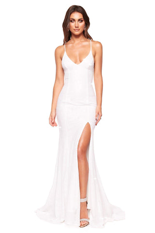 A&N Luxe Kara - White Sequin Mermaid Gown with Lace-Up Back & Slit