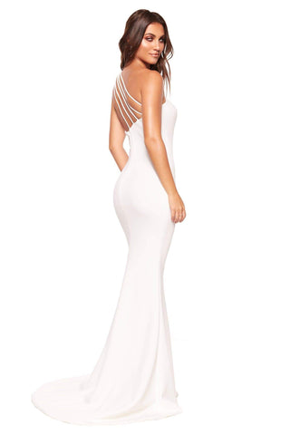A&N Luxe Maya - White One-Shoulder Mermaid Ponti Gown with Strap Detail
