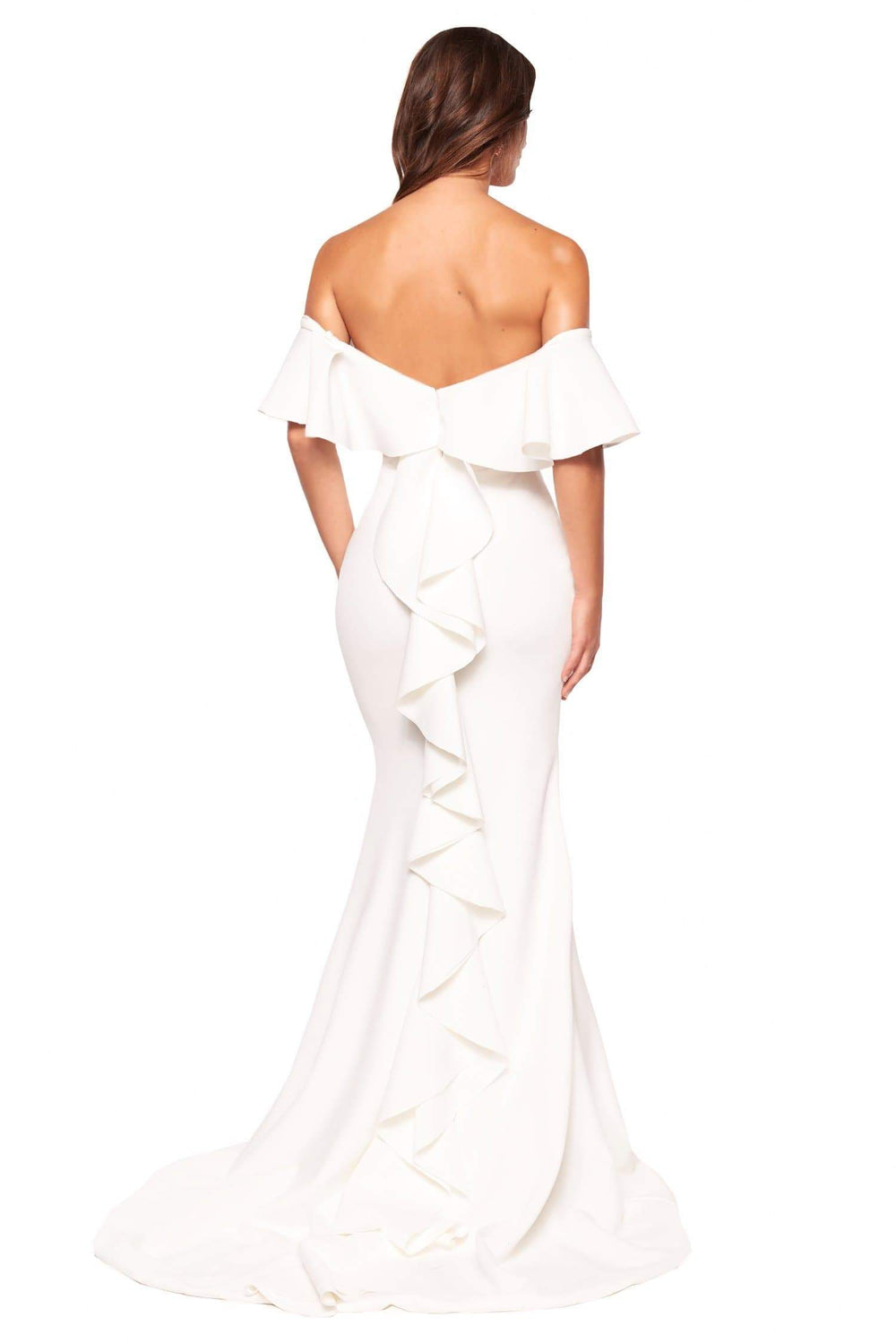 A&N Luxe Evie - White Off-Shoulder Ponti Gown with Frill Detail