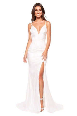A&N Luxe Evaliah - White Glitter Gown with Side Slit & Low Back