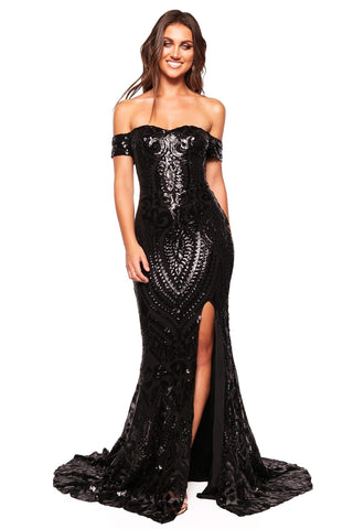 A&N Luxe Kora - Black Off-Shoulder Sequin Gown with Side Slit