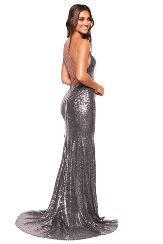 A&N Luxe Esmee - Gunmetal Sequin Mermaid Gown with Lace-Up Back