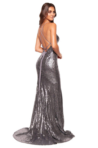 A&N Luxe Kara - Gunmetal Sequin Mermaid Gown with Lace-Up Back & Slit