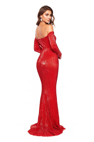 A&N Marla- Red Shimmering Off Shoulder Gown with Long Sleeves