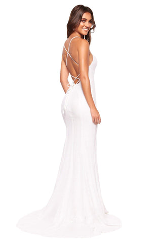 A&N Luxe Zani - White Sequin Gown with Straight Neck & Lace-Up Back