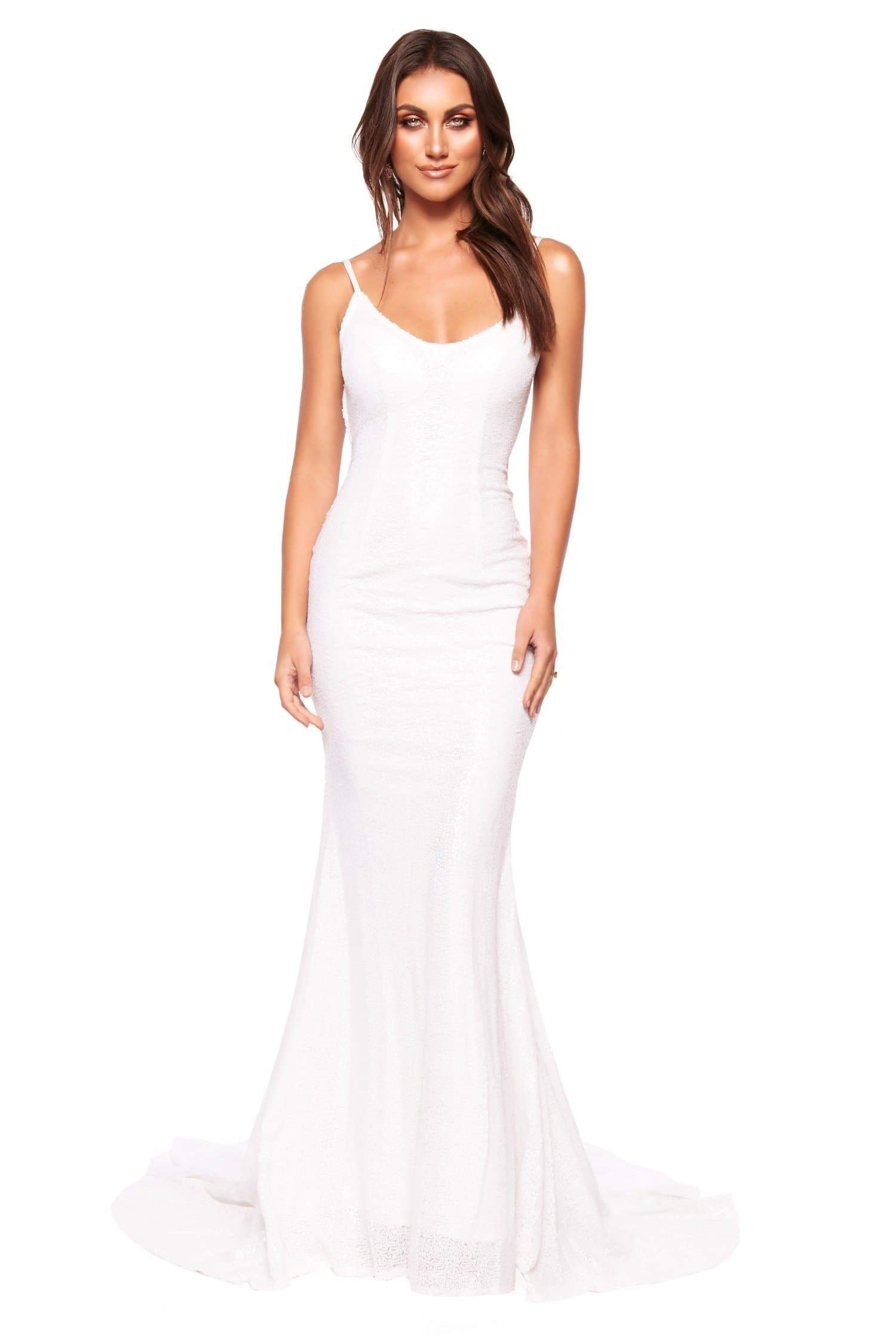 A&N Luxe Rumi - White Sequin Mermaid Gown with Scoop Neck & Low Back