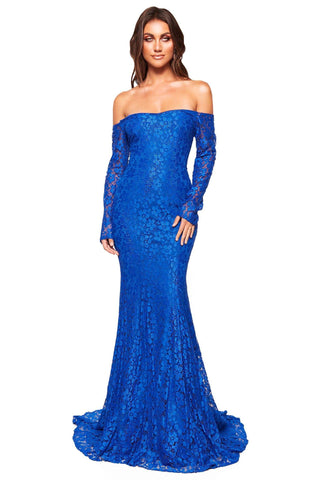 A&N Luxe Daisy - Royal Blue Shimmering Lace Off-Shoulder Gown