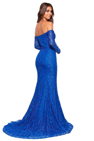 A&N Luxe Daisy Shimmering Lace Gown - Royal Blue