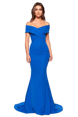 A&N Luxe Jocelyn - Royal Blue Off-Shoulder Mermaid Gown