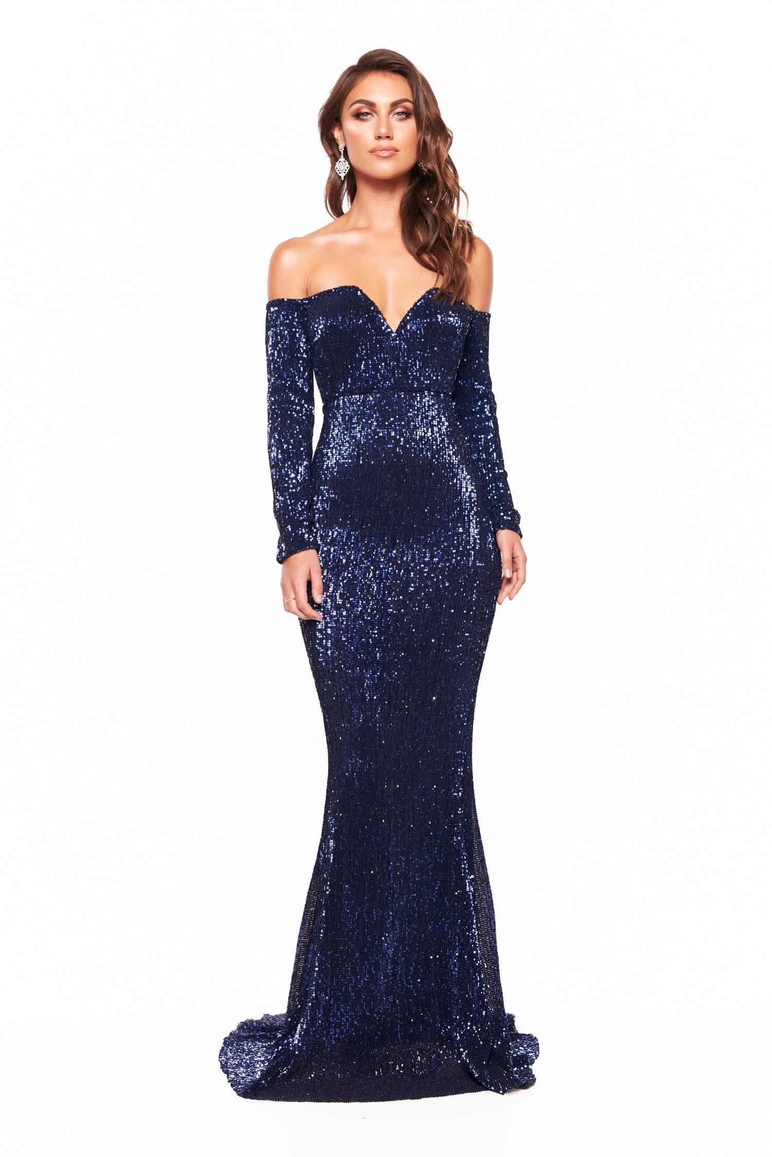 7260c4a9e6b A N Marla - Shimmering Off Shoulder Gown with long Sleeves – A N ...