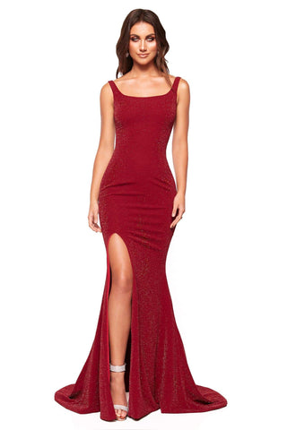 A&N Luxe Faria - Burgundy Shimmering Gown with Lace-Up Back & Slit