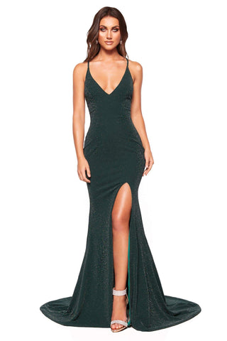 A&N Luxe Harlow - Forest Green Shimmering Gown with Criss Cross Back