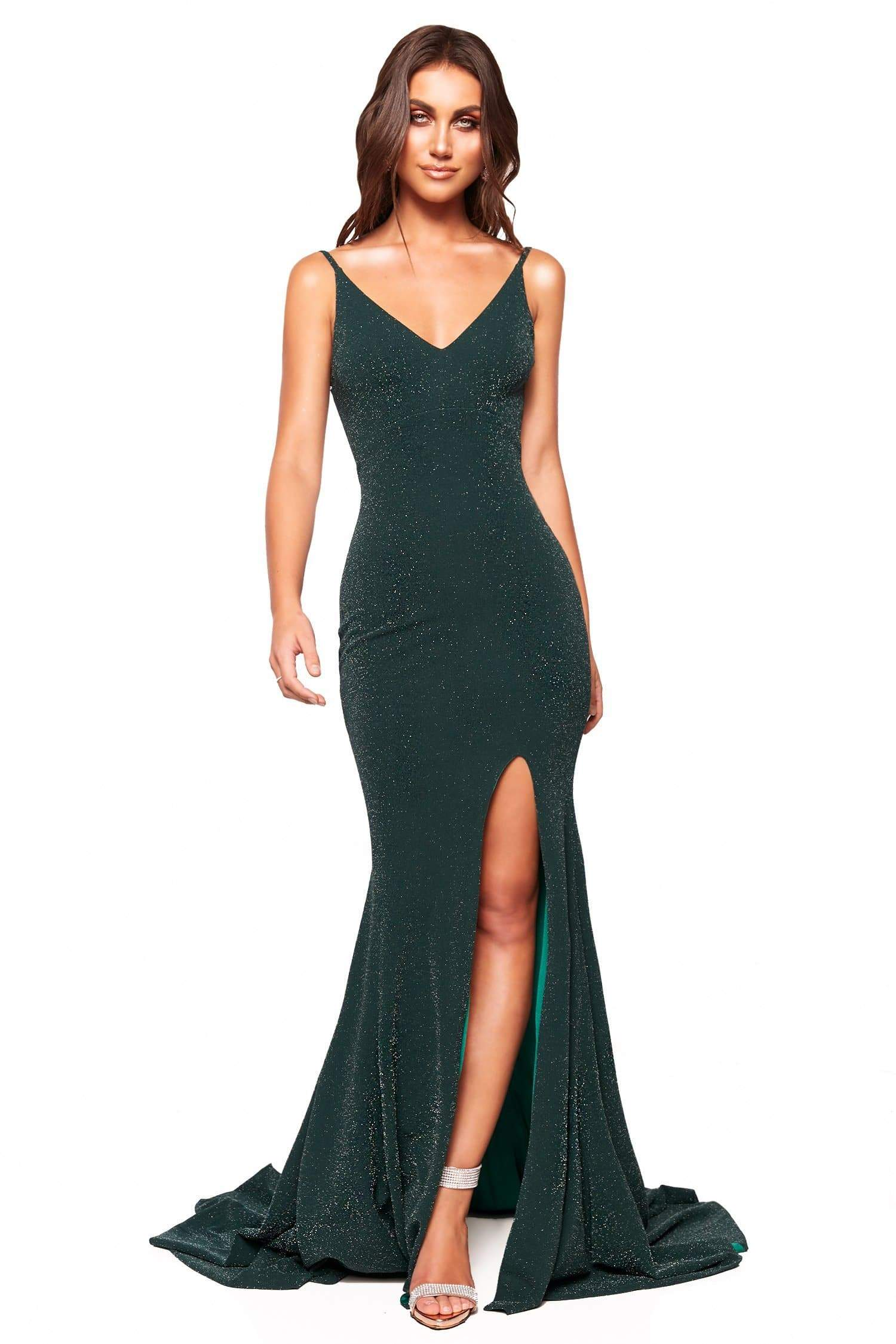 A&N Luxe Willow - Forest Green Shimmering Gown with Low Back & Slit