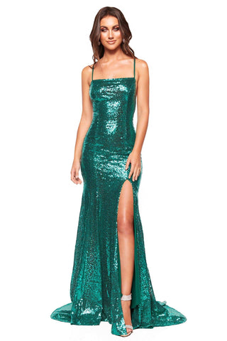 A&N Luxe Zani - Emerald Sequin Gown with Straight Neck & Lace-Up Back