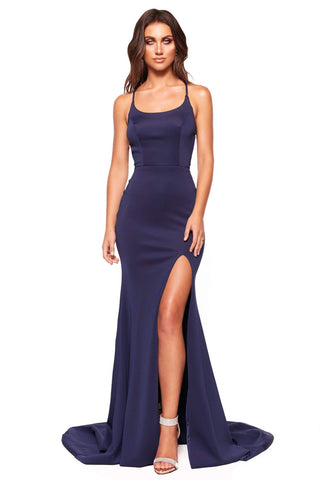 A&N Luxe Chiara - Navy Ponti Gown with Side Slit & Lace-Up Back