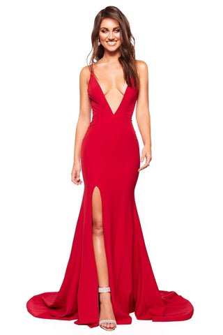 A&N Luxe Celine - Red Gown with Plunge Neck & Side Slit