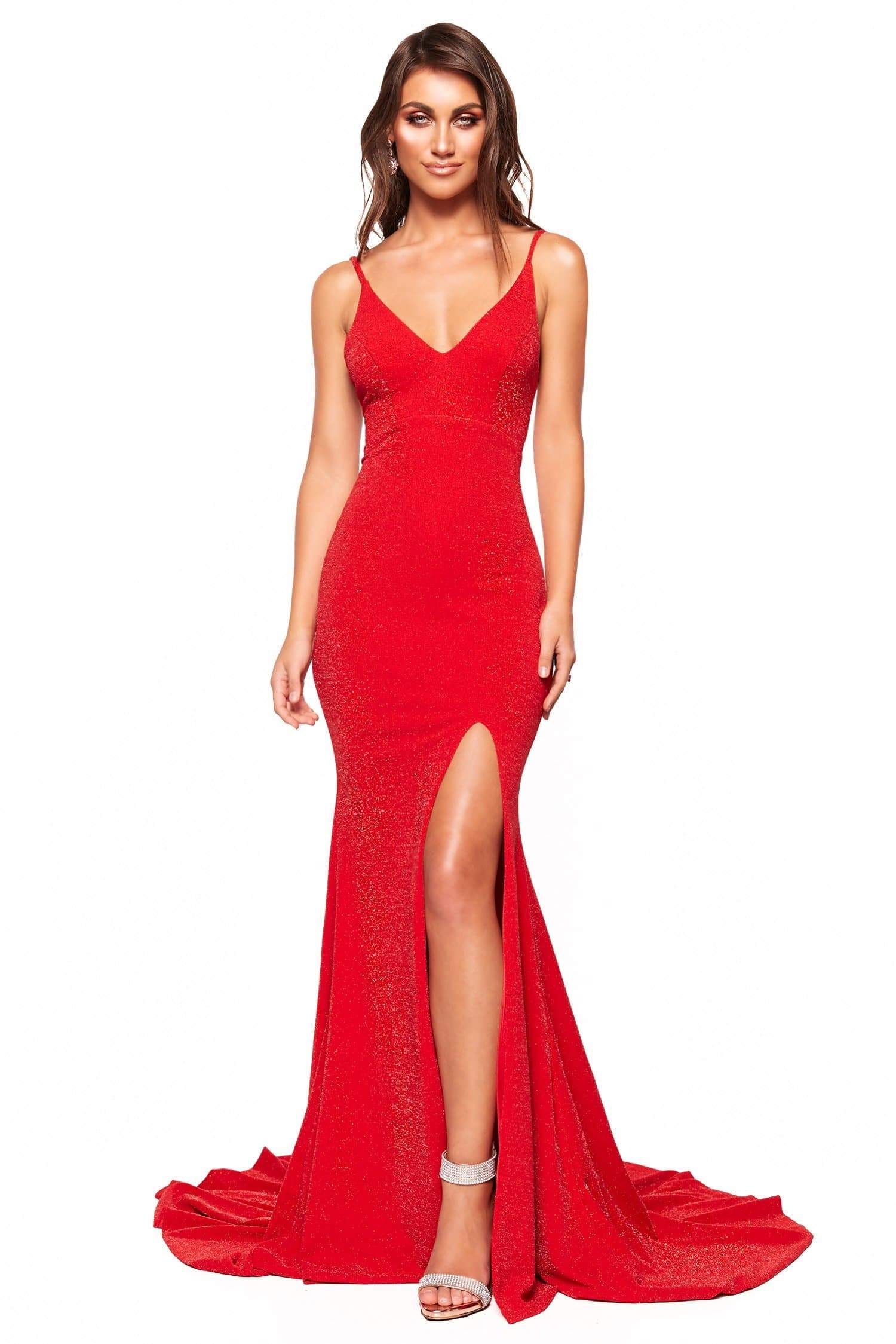 A&N Luxe Maia - Red Shimmering Gown with Low Back & Slit