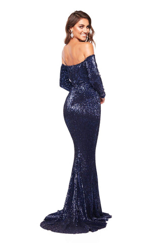 A&N Marla - Shimmering Off Shoulder Gown with long Sleeves