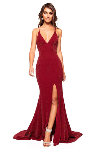 A&N Luxe Iesha - Burgundy Shimmering Gown with Criss Cross Back