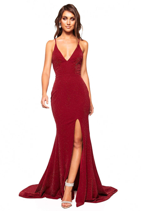 A&N Luxe Makena Shimmering Gown - Burgundy