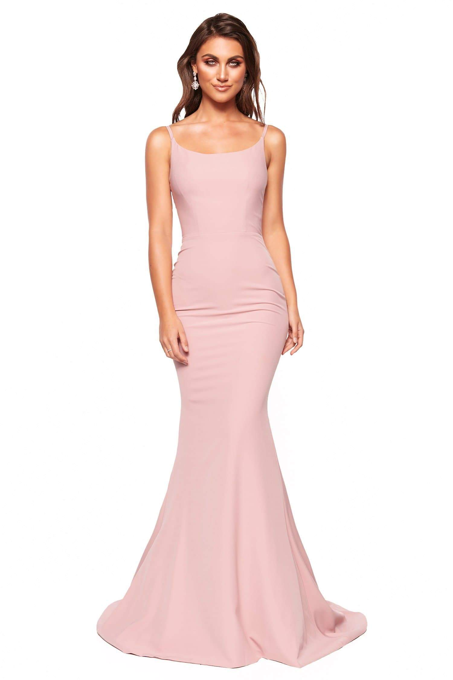 A&N Luxe Imani - Dusty Pink Mermaid Crepe Gown with Thin Straps