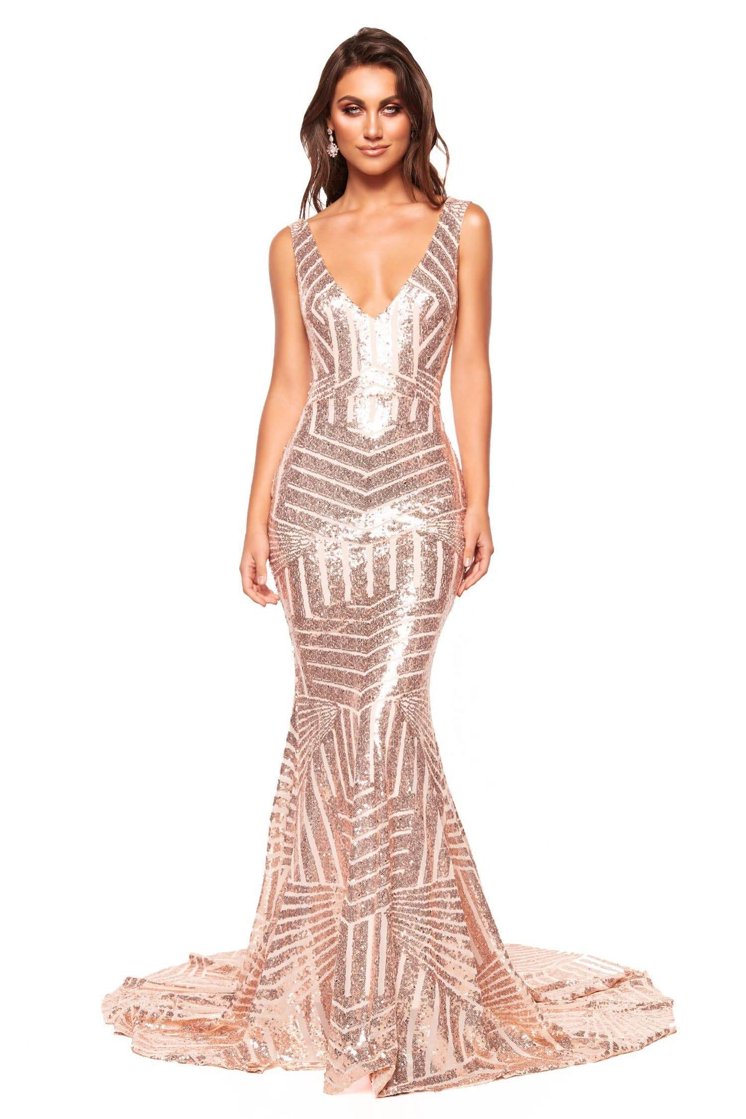 A&N Luxe Serena - Rose Gold Sequin Mermaid Gown with Plunge Neck & Low Back