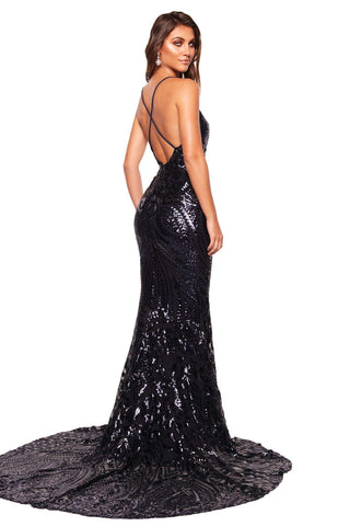 A&N Luxe Kalila - Navy Sequin Gown with Plunge Neck & Criss-Cross Back