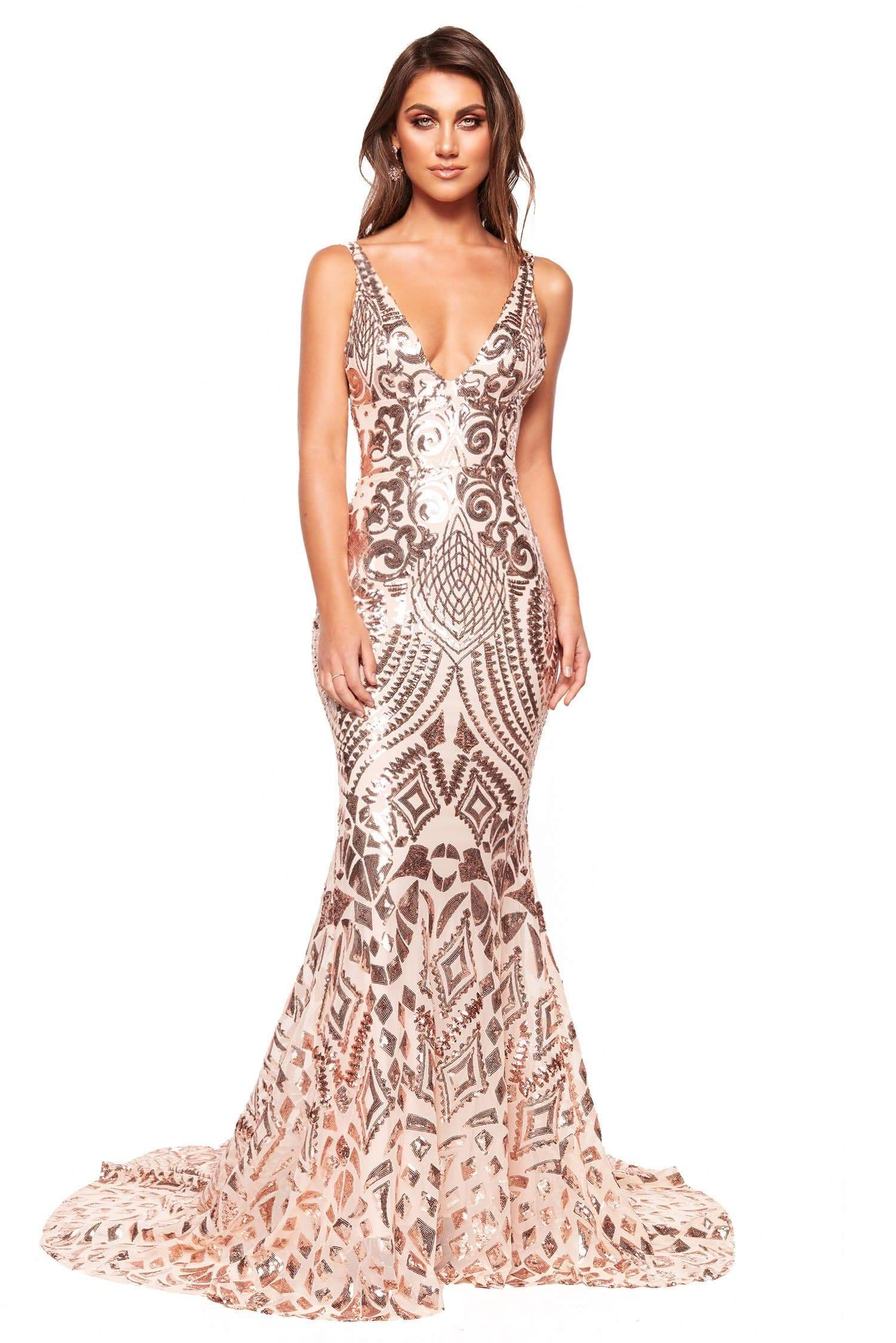 Rose Gold Dresses Gowns Afterpay Sezzle We Ship Worldwide A N Luxe Label