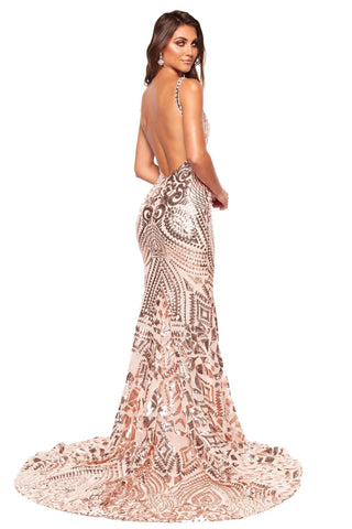 A&N Luxe Sapphira - Rose Gold Sequin Gown with Plunge Neck & Low Back