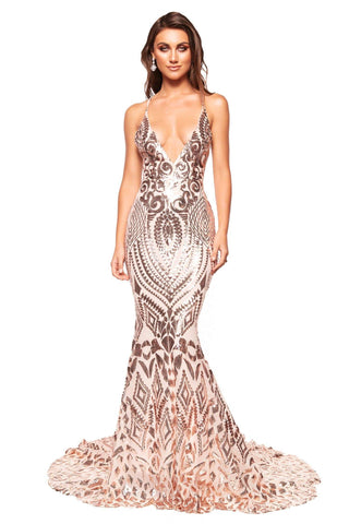 A&N Luxe Kalila - Rose Gold Patterned Sequin Gown with Criss-Cross Back