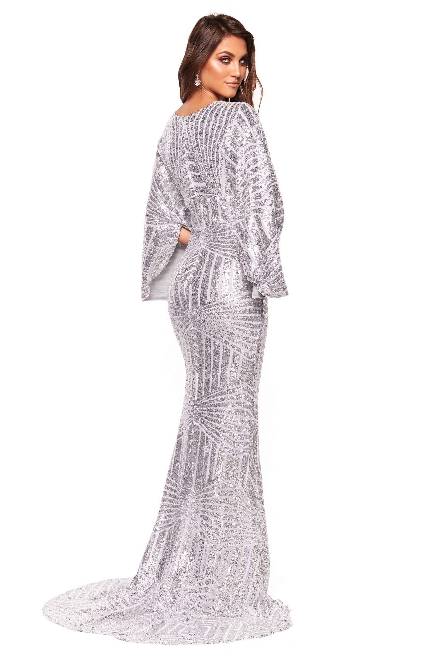 A&N Luxe Cass - Silver Kimono Sequins Gown w Plunge Neck & Side Slit